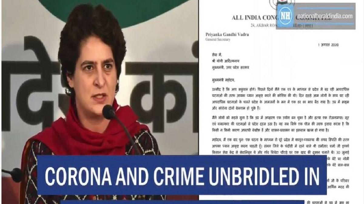 Corona and crime unbridled in UP, Priyanka writes to Yogi