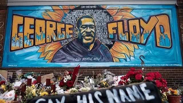 George Floyd mural in Minneapolis defaced with black paint