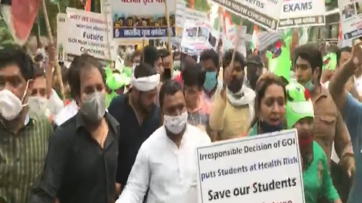 Congress protests demanding postponement of NEET, JEE exams
