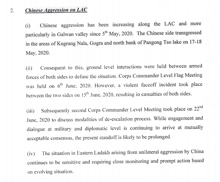 After two days, document confirming Chinese invasion disappears from Defence Ministry website