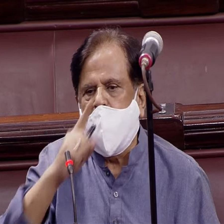 Senior Congress leader Ahmed Patel in Rajya Sabha today