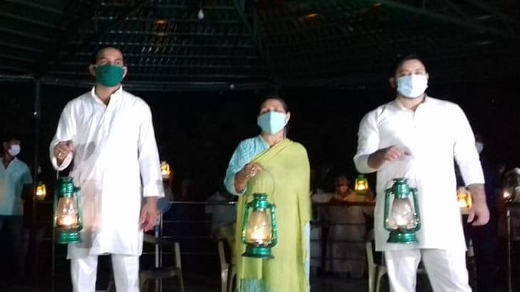 RJD protests against Nitish Kumar govt by lighting lamps