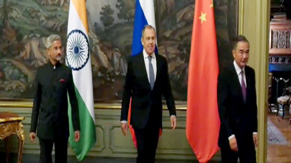 External Affairs Minister S. Jaishankar with his Russian and Chinese counterparts, Sergey Lavrov (C) and Wang Yi (R), respectively, during the meeting of SCO foreign ministers in Moscow (Photo Courtesy: ANI)