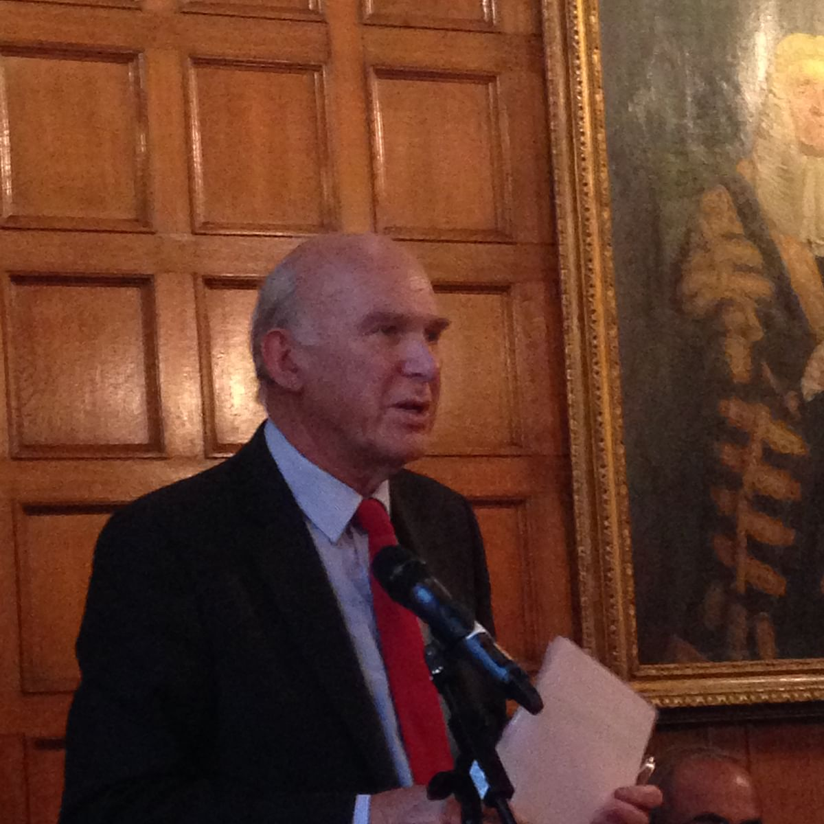 Sir Vince Cable, then UK's Secretary of State for Business, Innovation and Skills, at an event held to commemorate Sarat Chandra Bose's 125th birth anniversary in 2014