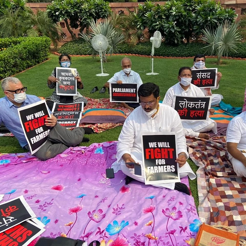 Rajya Sabha adjourned till Tuesday after uproar over 8 MPs' suspension, MPs protest outside Parliament