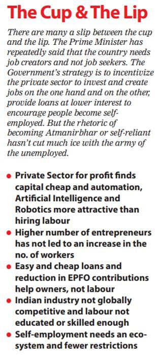 The army of the unemployed wait for secure and salaried jobs but the Govt is in denial