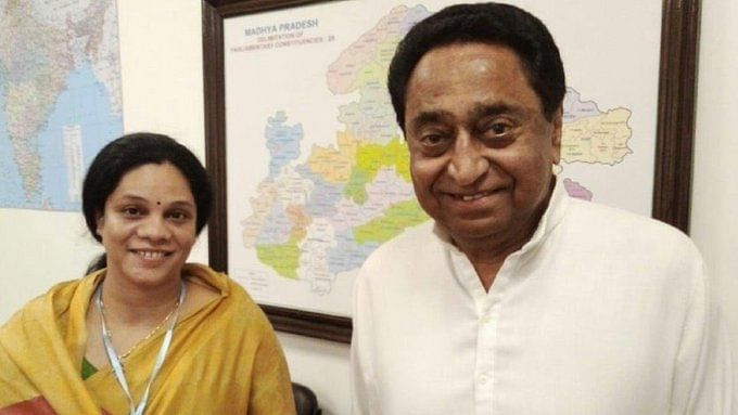 Former  BJP MLA Parul Sahu with former chief minister of Madhya Pradesh Kamal Nath (Photo courtesy: Twitter)