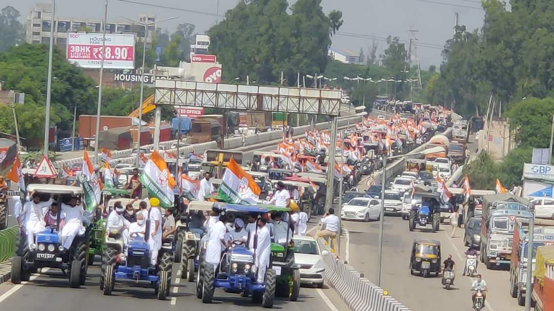 Congress holds massive protests across Haryana and Punjab against Farm Bills