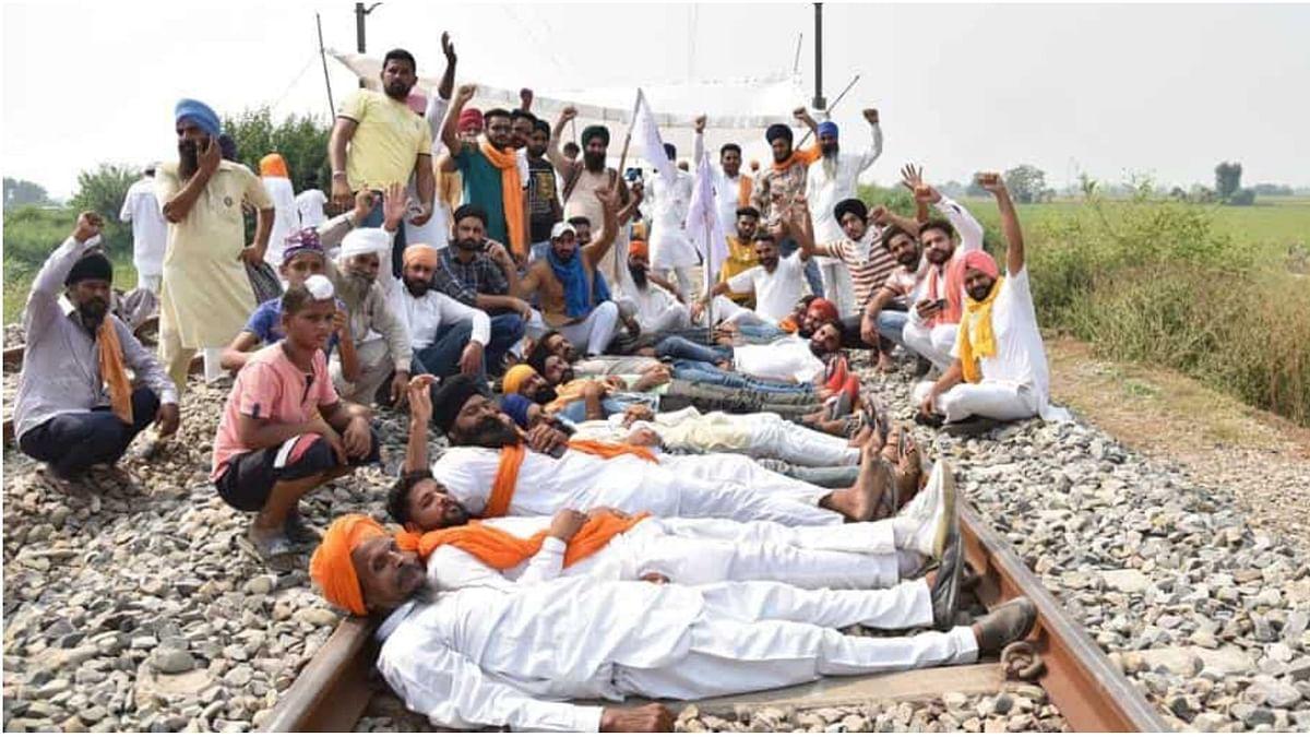Farmers continue 'Rail Roko' agitation against farm Bills at various places in Punjab