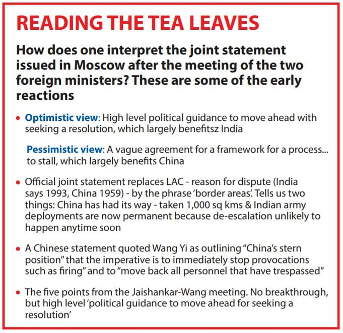 Moscow declaration refers to border areas, not LAC: Brinkmanship by Delhi and Beijing