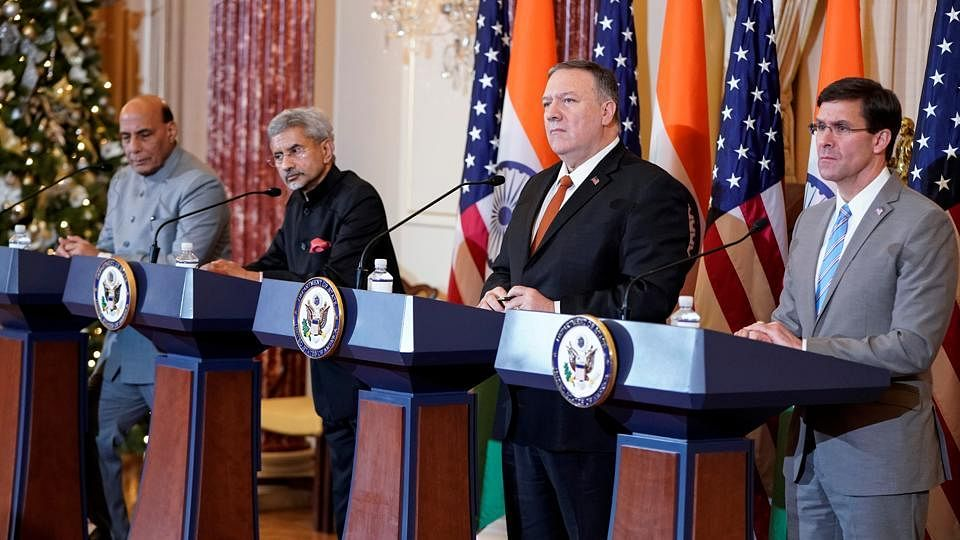 (Left to Right) India's Defence Minister Rajnath Singh and External Affairs Minister S. Jaishankar, and United States Secretary of State Mike Pompeo and Defence Secretary Mark Esper (File Photo)