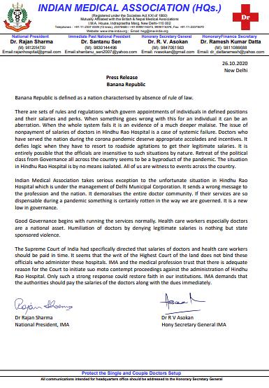 IMA supports unpaid Hindu Rao docs; calls the matter systemic failure of 'banana republic'