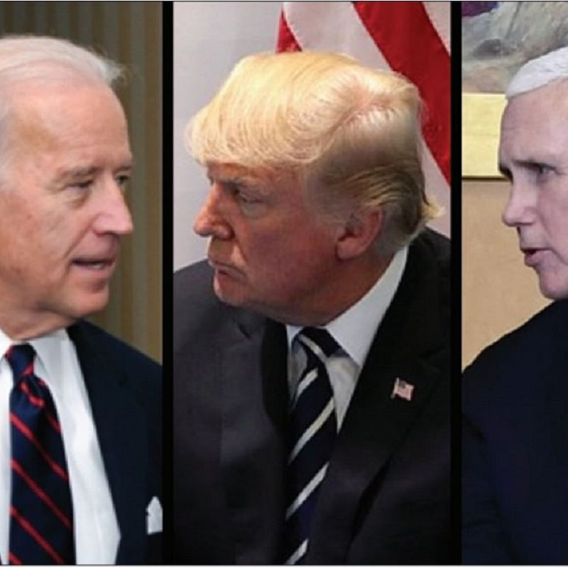 Joe Biden, Donald Trump and Mike Pence