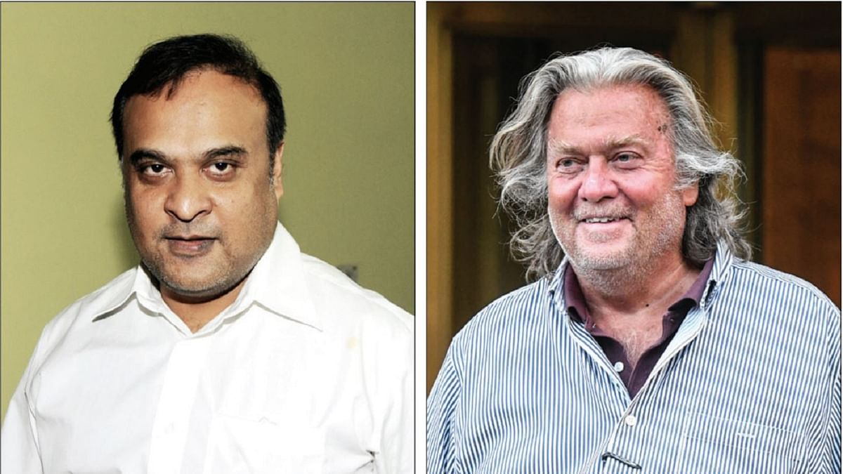 Himanta Biswa Sarma (Left) and Steve Bannon (Right)