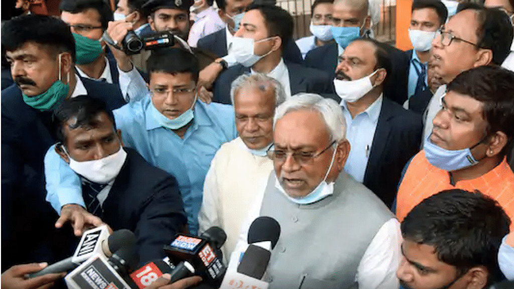 Nitish Kumar meets Bihar Governor, stakes claim for forming new government, will take oath on Monday
