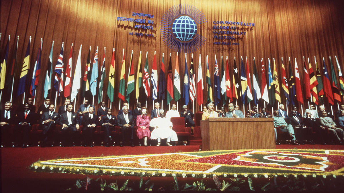 Opening of the Commonwealth Heads of Government meeting in Delhi with President Alhaji Shehi Shagari of Nigeria, Margaret Thatcher and India's Prime Minister Indira Gandhi. (Photo by Ron Bell - PA Images/PA Images via Getty Images, 23 November, 1983)
