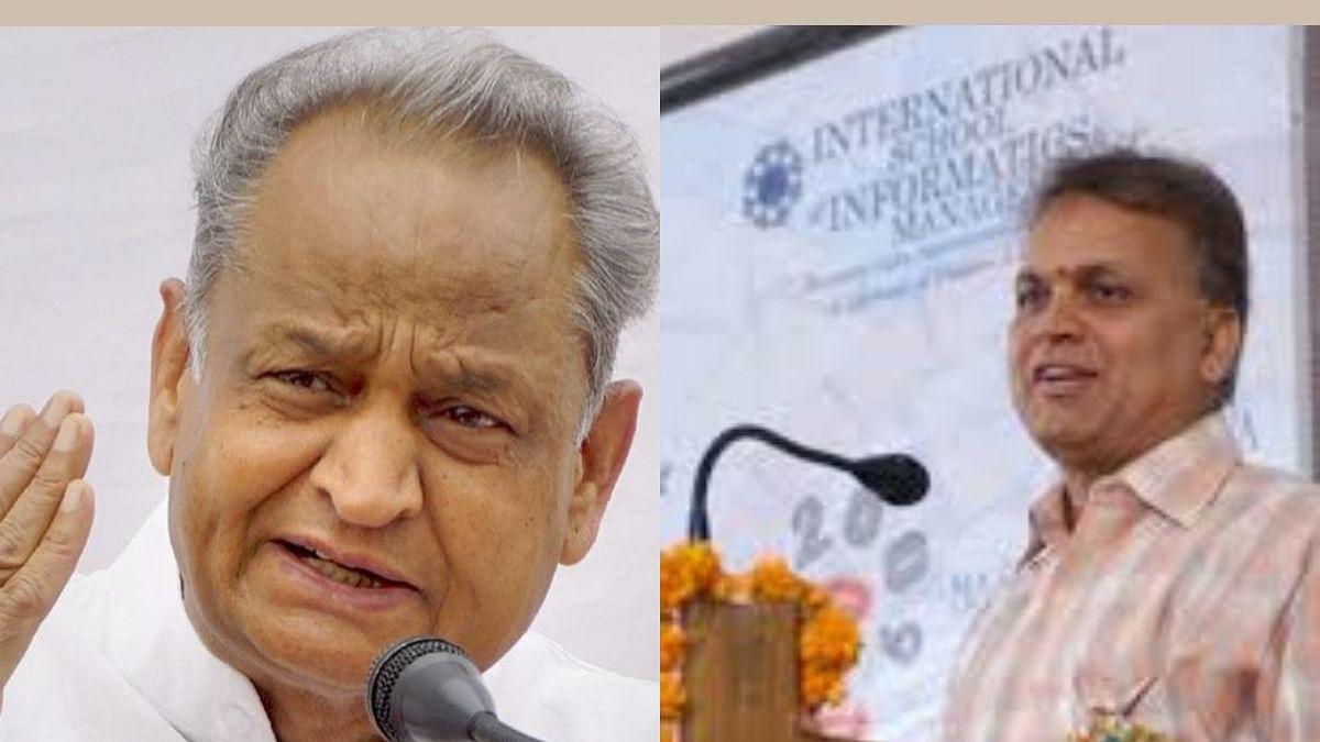 Rajasthan CM Ashok Gehlot; the new Chief Secretary Niranjan Arya (right)