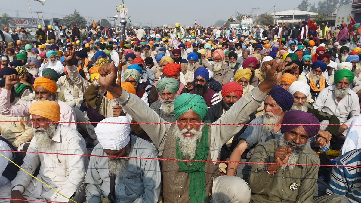 Representative Image (Farmers sitting at Singhu Border to protest centre's farm reform laws in New Delhi, India.) (Photo by Vipin Kumar/Hindustan Times via Getty Images)