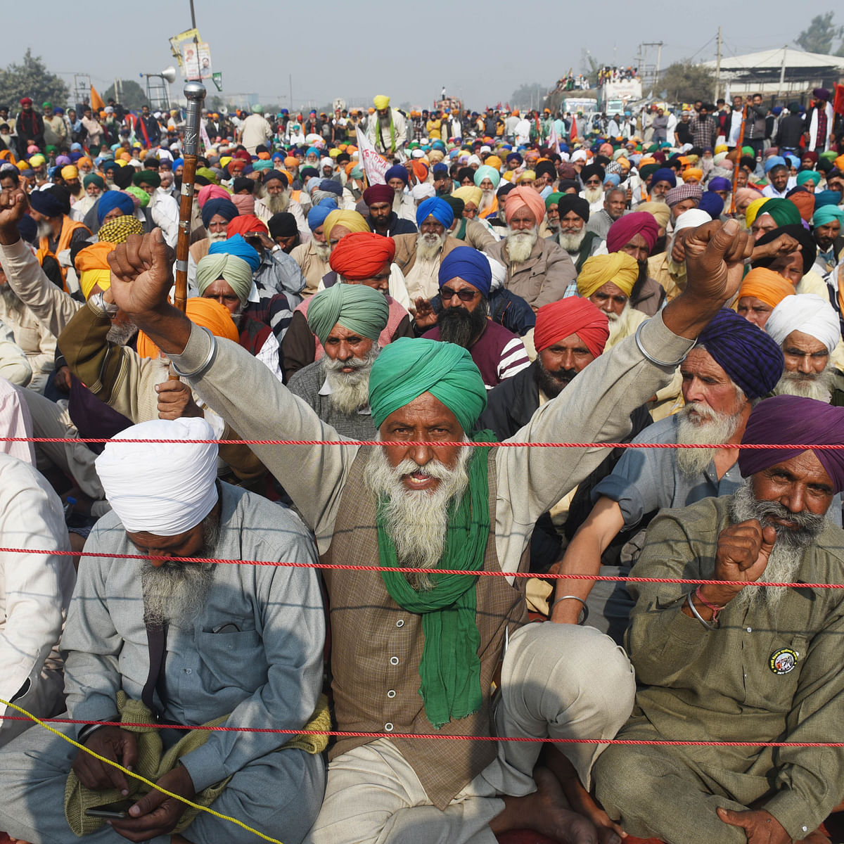 Farmers sitting at Singhu Border to protest centre's farm reform laws in New Delhi, India. (Photo by Vipin Kumar/Hindustan Times via Getty Images)