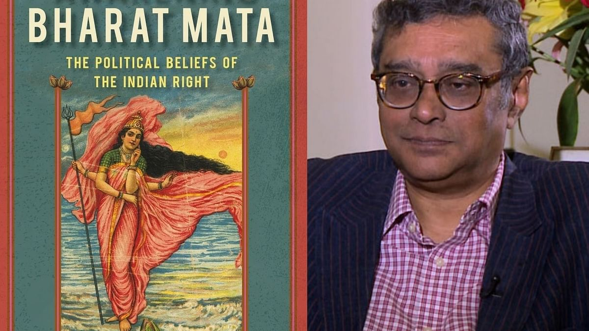 Swapan Dasgupta and the jacket of his book 'Bharat Mata'