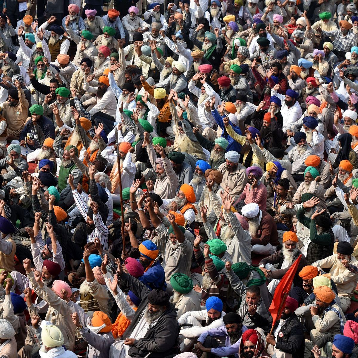 (Representative Image) Farmers protesting at Delhi's Singhu border (Photo by Sonu Mehta/Hindustan Times via Getty Images)