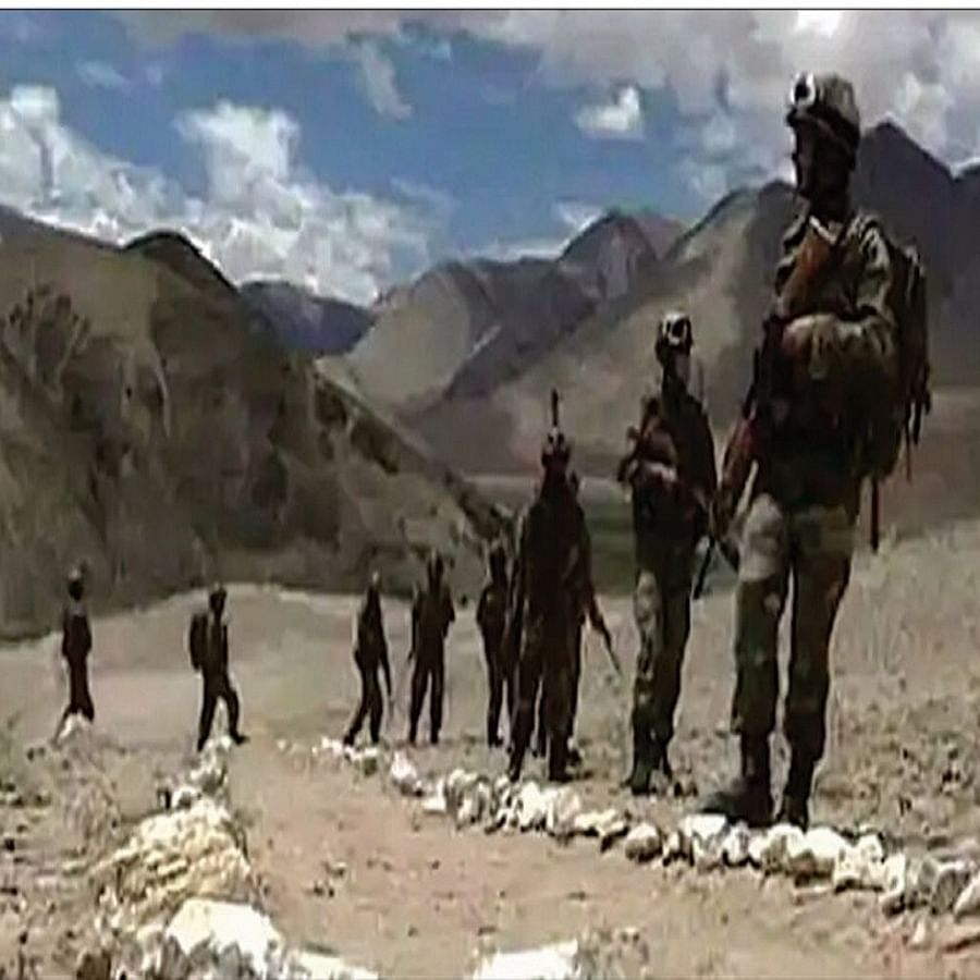 Indian soldiers patrolling near the Line of Actual Control (LAC) in Ladakh