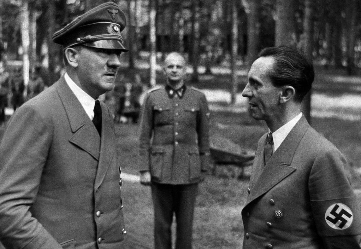 Adolf Hitler with Joseph Goebbels (Photo by ullstein bild via Getty Images)