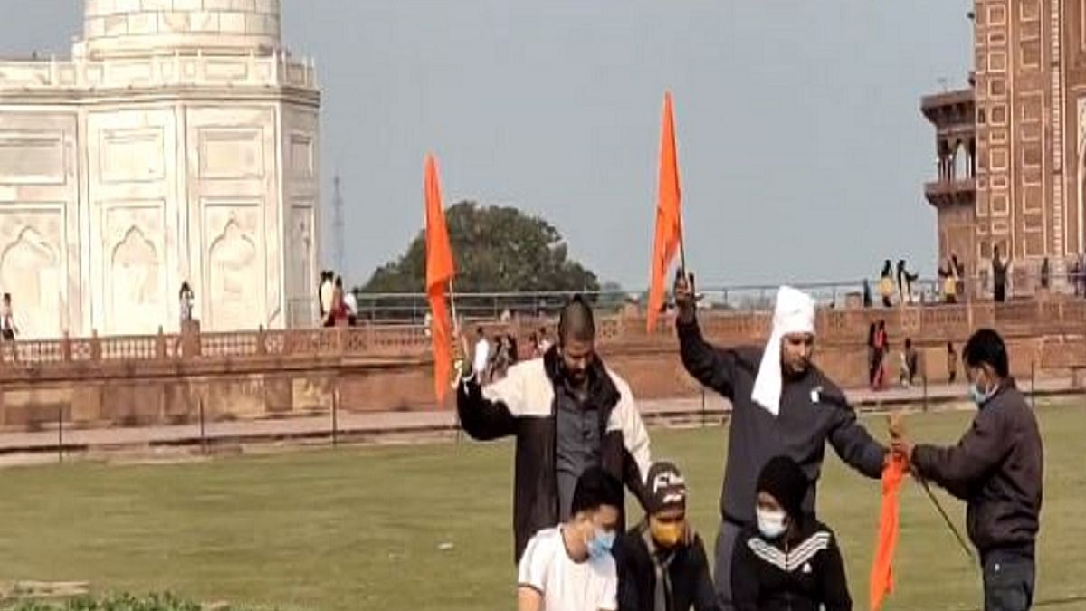 Four people belonging to right-wing organisation held for waving saffron flags inside Taj Mahal complex