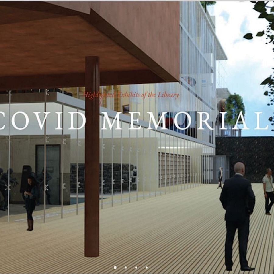A parody website suggests the Trump World could have a 'COVID Memorial' (above), to mock Trump's handling of the pandemic; (Left) Under the 'Grift', it lists a number of items including MAGA playing cards with tweets by the outgoing President
