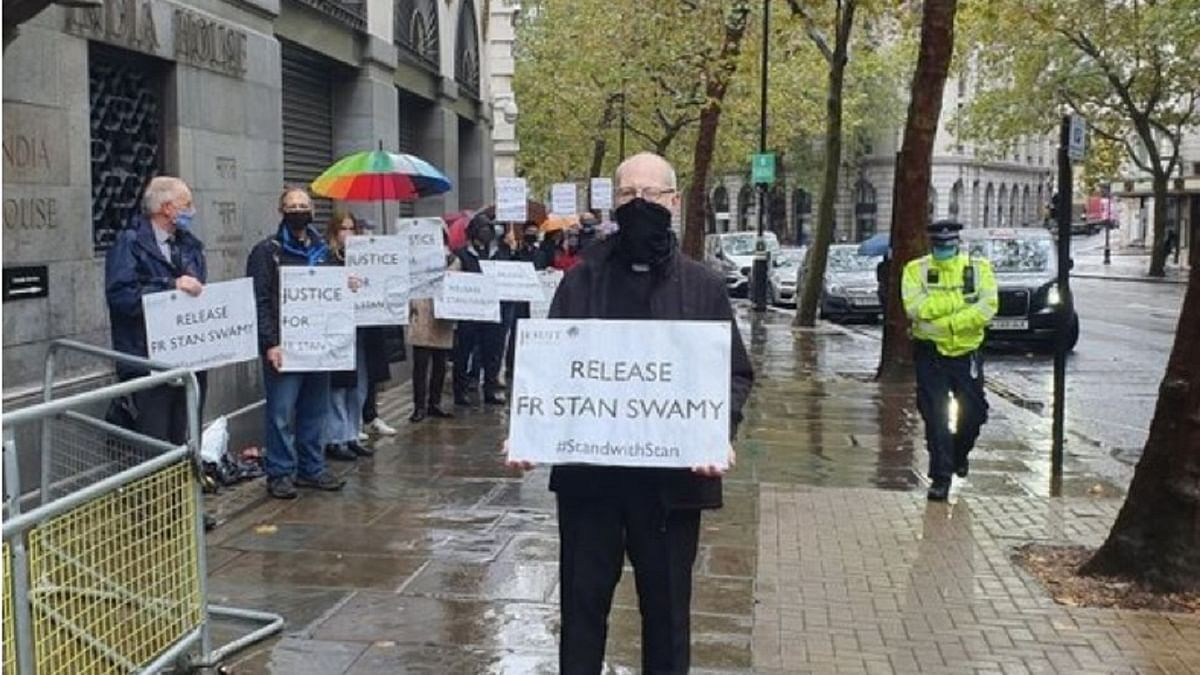 London protest for release of Stan Swamy (Photo Courtesy: Social Media/www.counterview.net)