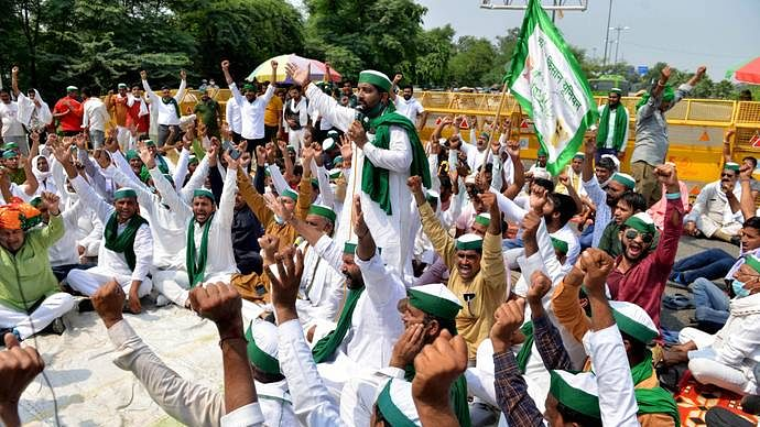 Farmers staging protests across western UP; villagers ban entry of leaders supporting farm laws
