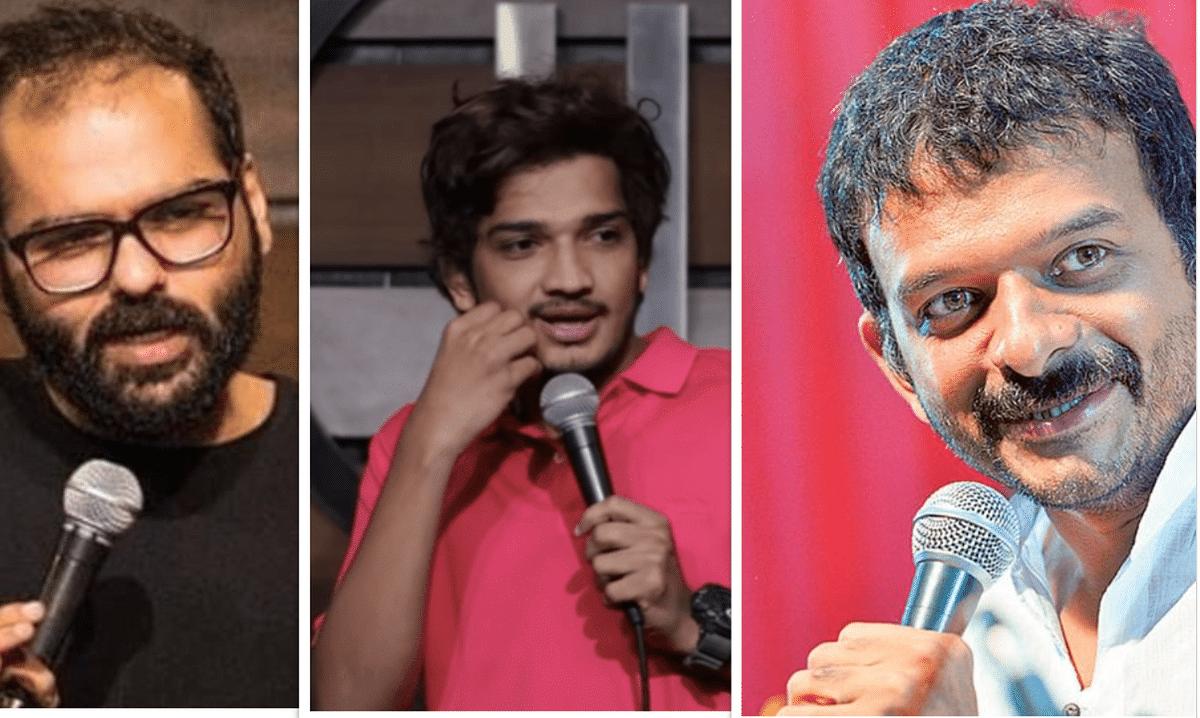 (L-R) Standup comedians Kunal Kamra, Munawar Faruqui and TM Krishna