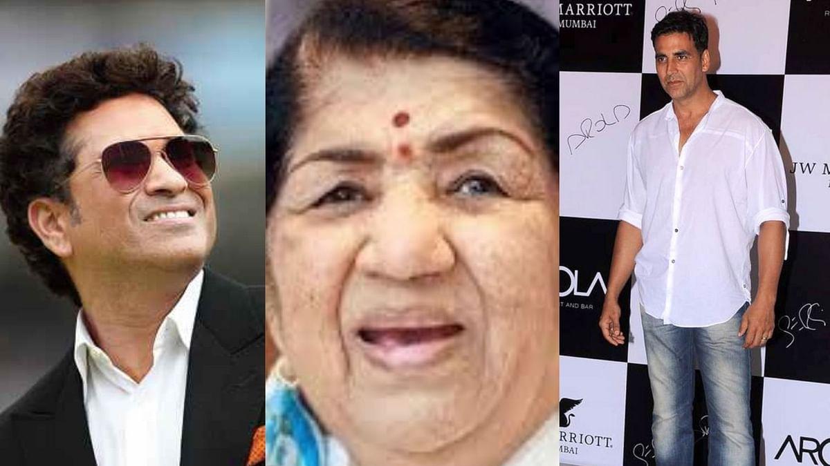 (L-R) Sachin Tendulkar, Lata Mangeshkar and Akshay Kumar