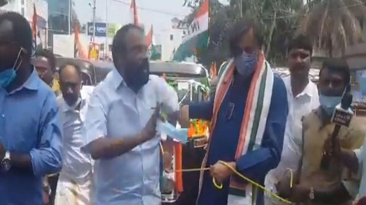 Tharoor's auto rickshaw protest against fuel price hike