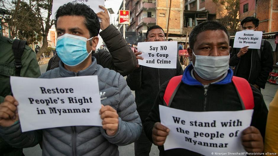 Health workers start anti-coup protests in virus-hit Myanmar