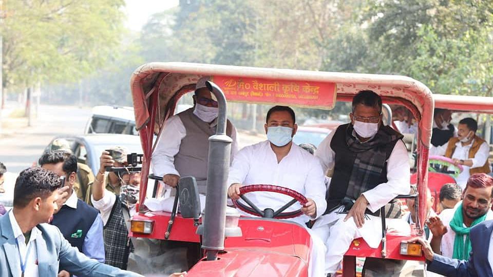 Tejashwi Yadav reaches Bihar assembly driving a tractor