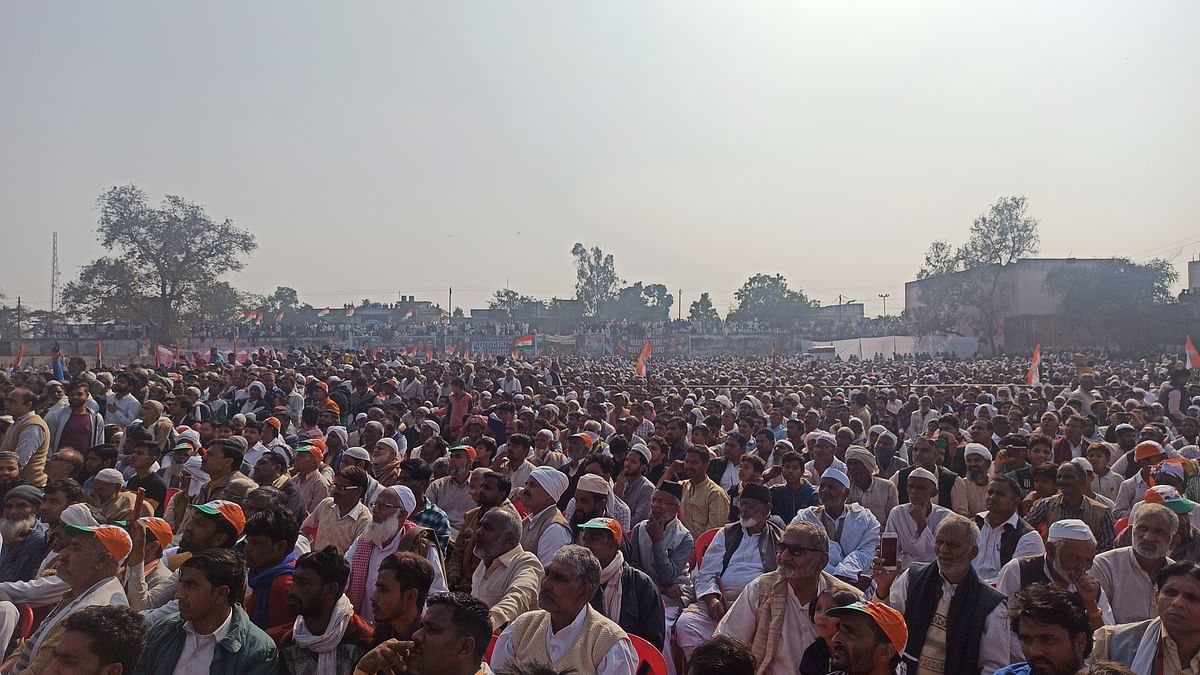 A glimpse of the crowd at the kisan mahapanchayat called by the Congress in Muzaffarnagar on Saturday. (Photo: Aas M. Kaif)