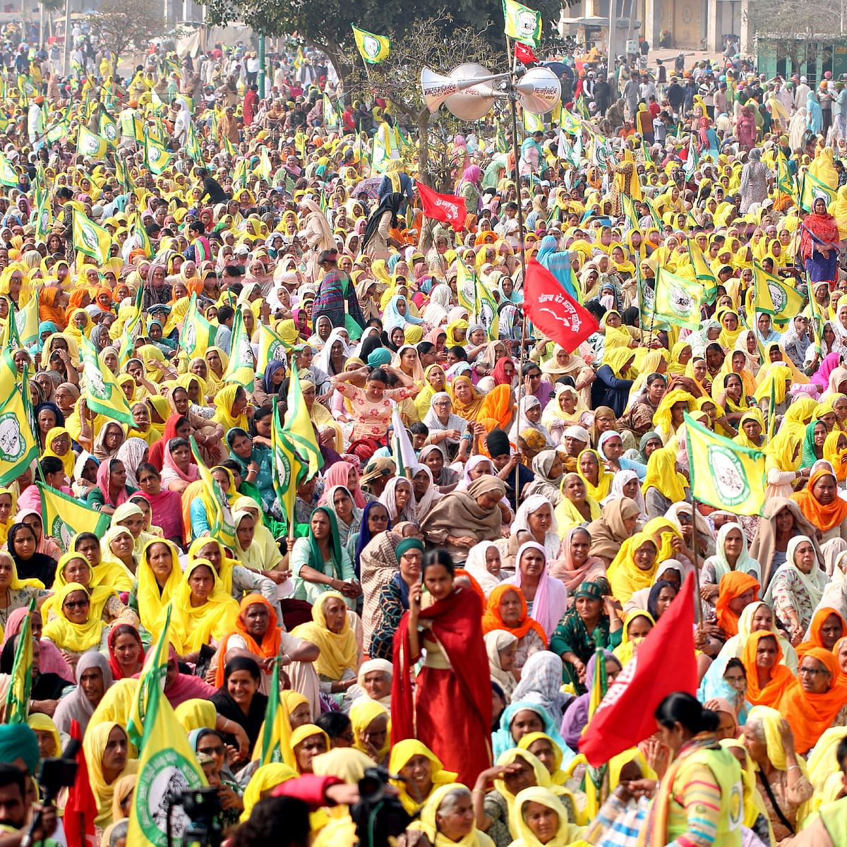 Women Farmers out in large numbers during the Mazdoor Kisan Ekta Maha Rally at grain market, on February 21, 2021 in Barnala, India. (Photo by Sanjeev Kumar/Hindustan Times via Getty Images)