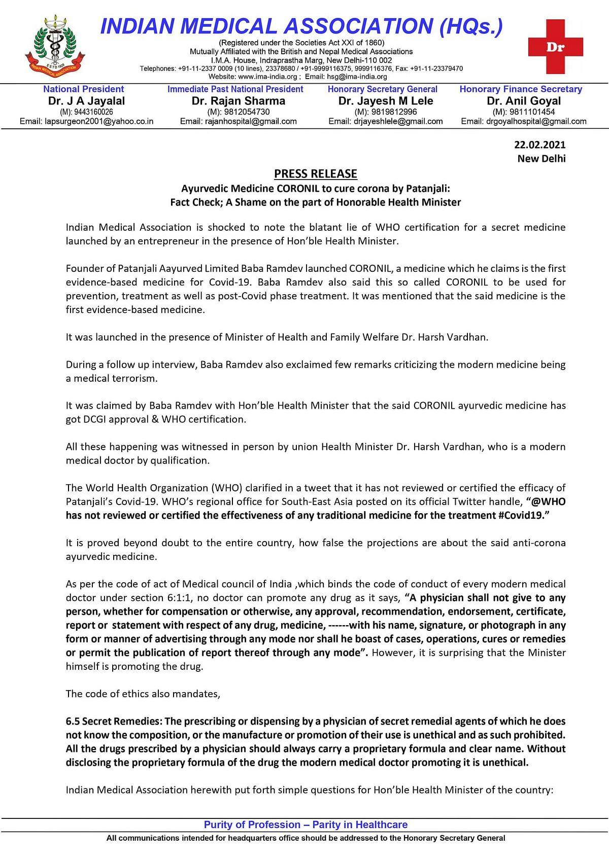 IMA slams Harsh Vardhan for endorsing Patanjali's Coronil; WHO denies issuing any approval
