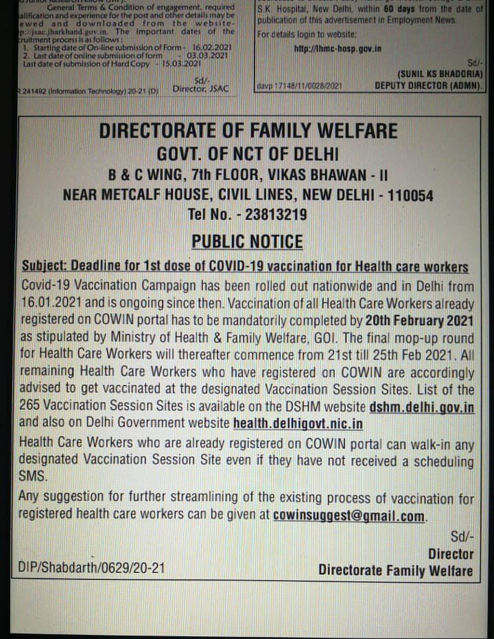 Union Health Ministry says COVID-19 vaccination voluntary; Delhi govt issues order making it mandatory
