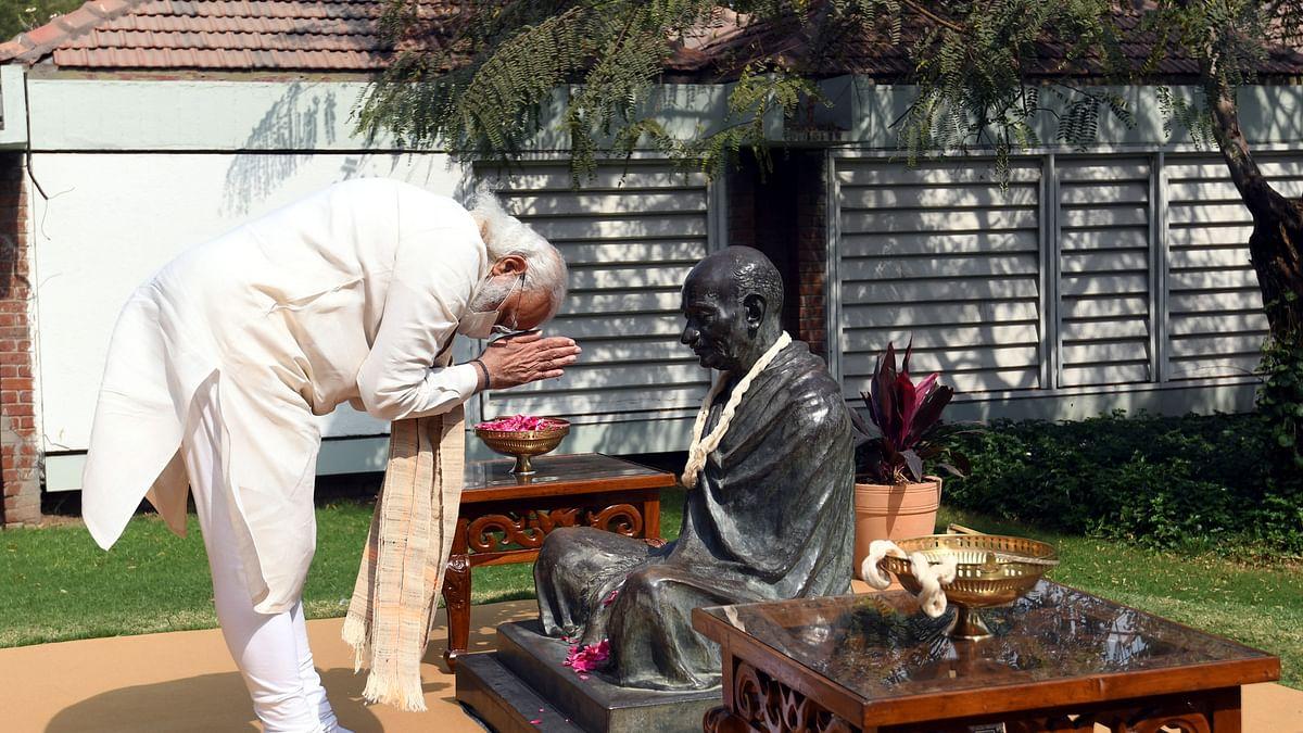PM Narendra Modi paying tributes to Mahatma Gandhi at Sabarmati Ashram in Ahmedabad, Gujarat on March 12, 2021