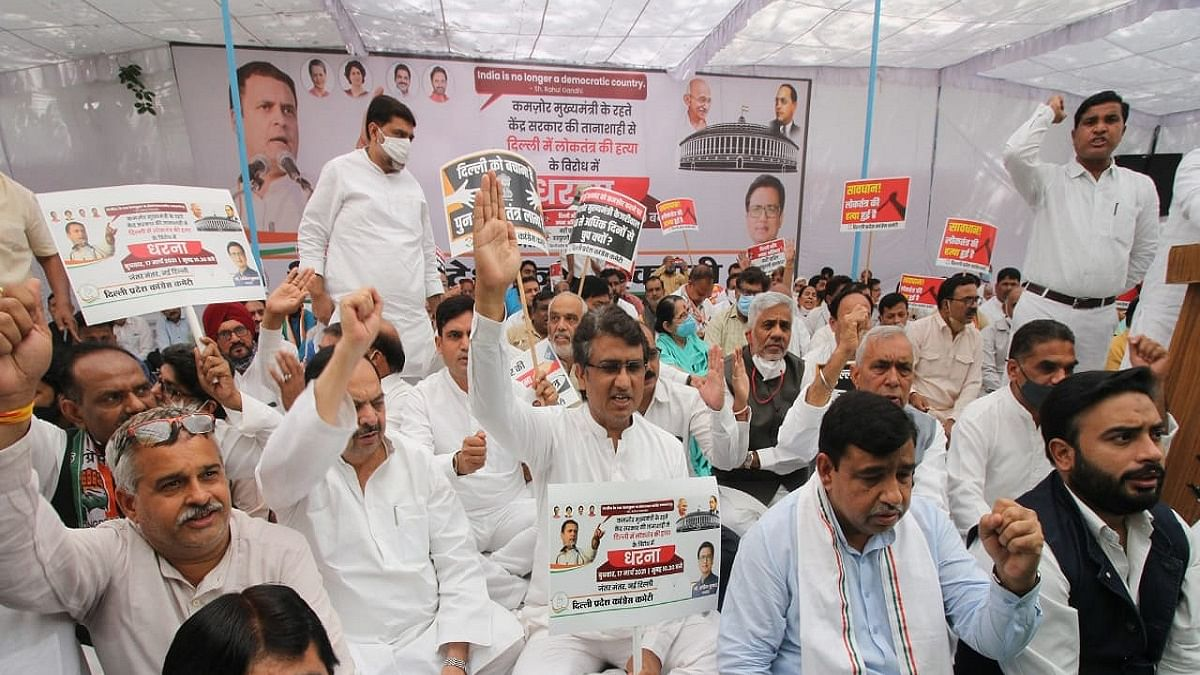 Delhi Congress stages sit-in at Jantar Mantar against bill on LG powers