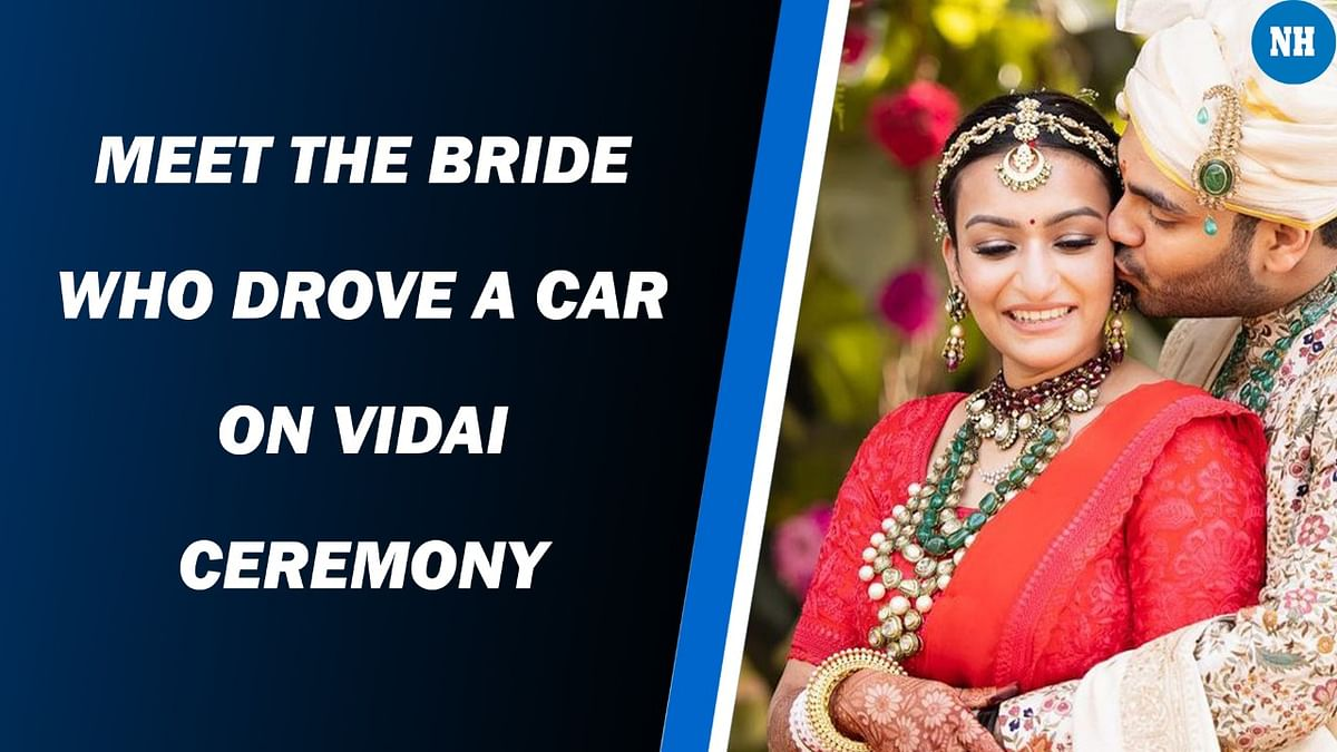 A newly-wed bride takes her husband home driving the car by herself