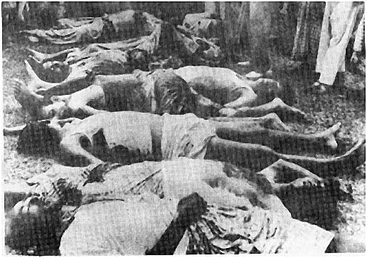 A picture depicts the genocide of the Bengalis
