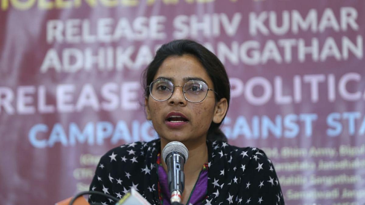 Nodeep Kaur at a press conference held in Delhi on Monday (NH photo by Vipin)