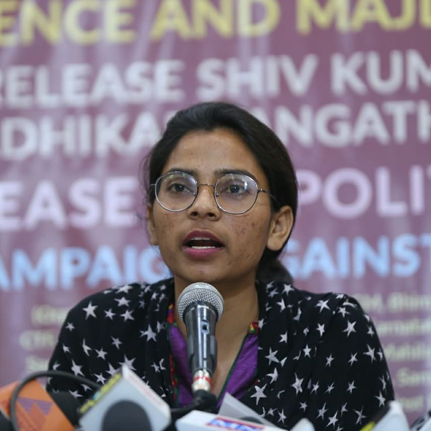 Nodeep Kaur at a press conference held in Delhi on Monday (NH photo by Vipin)