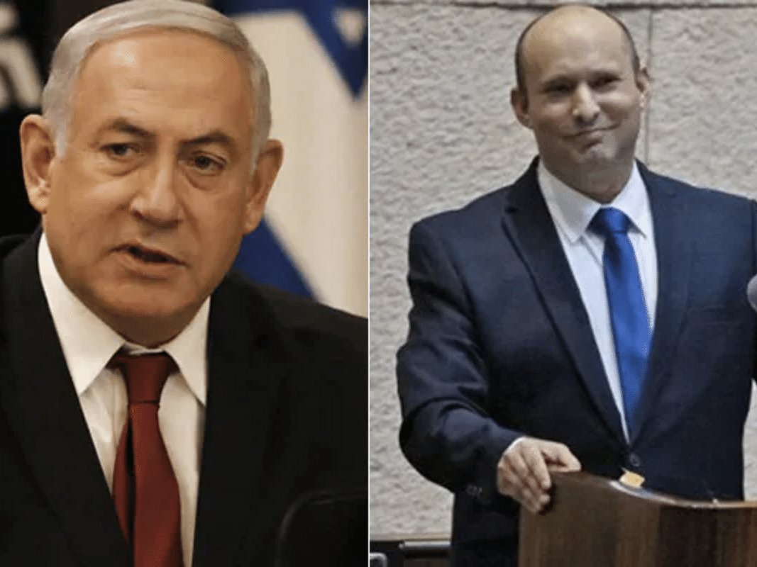 Benjamin Netanyahu (left), Naftali Bennett (right)