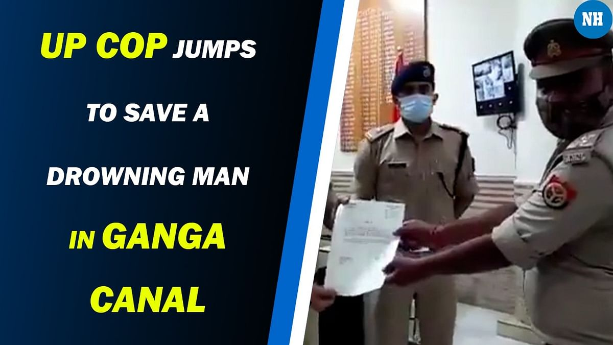 Aligarh: UP cop dives in water to save a drowning man in Ganga canal. Video goes viral