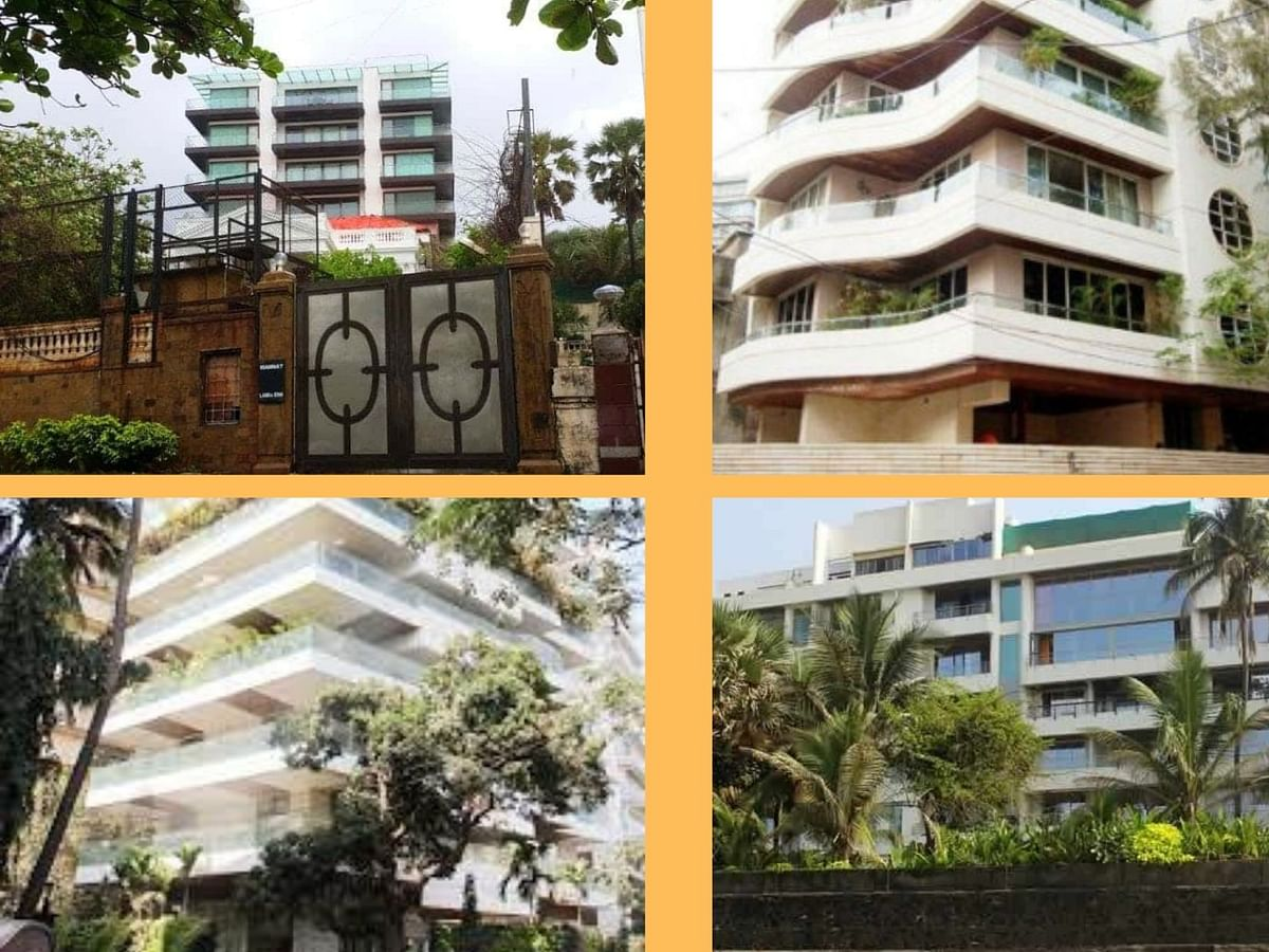 Clock wise: Mannat, Galaxy Apartments, Kangana Rnaut's residence in Mumbai, and Akshya Kumar's residence in Mumbai