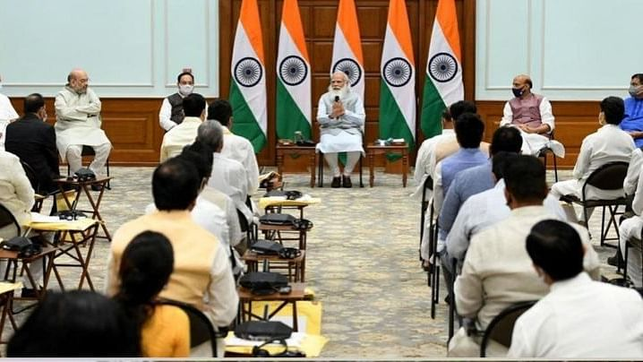 PM Narendra Modi at a meeting with new entrants ahead of the swearing-in ceremony